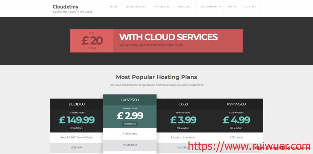 Cloudxtiny:英国便宜VPS服务器5折促销,G口带宽双核2G内存40G SSD硬盘带2个IP仅£4/月-瑞吾尔