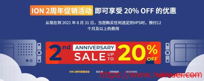 ION:2周年促销,VPS年付8折优惠,可选洛杉矶/圣何塞cn2 gia/新加坡cn2-瑞吾尔