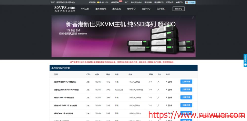 80VPS:日本/香港CN2服务器600元/月,E5/16G/1TB/20M带宽-瑞吾尔