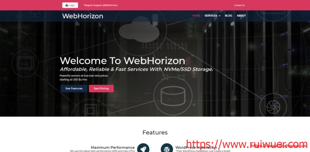 WebHorizon:$10.56/年-256MB/5G SSD/200GB/日本VPS-瑞吾尔