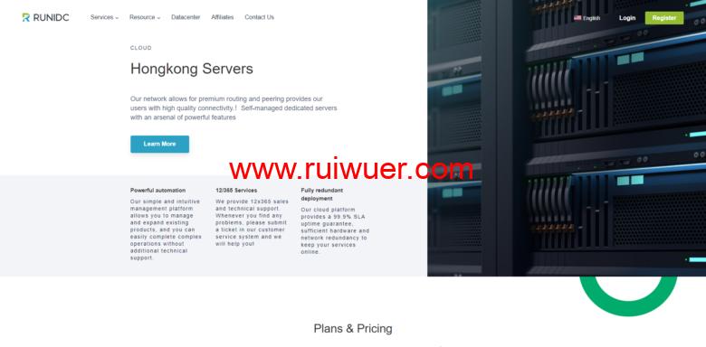 runidc:香港物理服务器,$30/月,30M带宽不限流量,e3-12XX/16G内存/1T硬盘-瑞吾尔