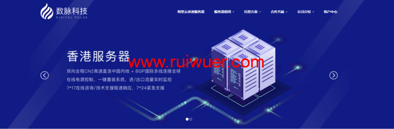 数脉科技:320元/月/E3-1230v2/16GB内存/1TB或240GB SSD硬盘/不限流量/10Mbps带宽/华为香港CN2/阿里云香港CN2-瑞吾尔