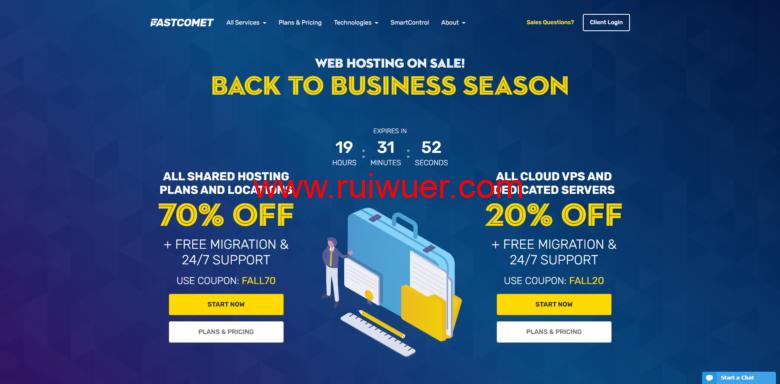 FastComet:日本主机/美国等全球10大数据中心cPanel共享主机/外贸主机年付低至35刀,赠送免费域名转入-瑞吾尔