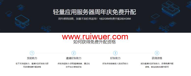 腾讯云:免费升级配置活动,1核2G6M免费升配2核4G6M,需要邀请5人助力-瑞吾尔