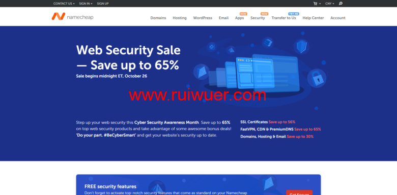 namecheap:网络安全销售,SSL 证书、高级dns等,最高优惠65%-瑞吾尔